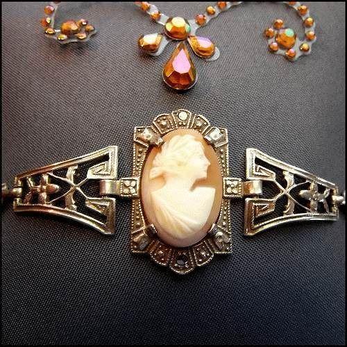 Antique Cameo Bracelet Art Deco Carved Sardonyx Shell w Sterling $275