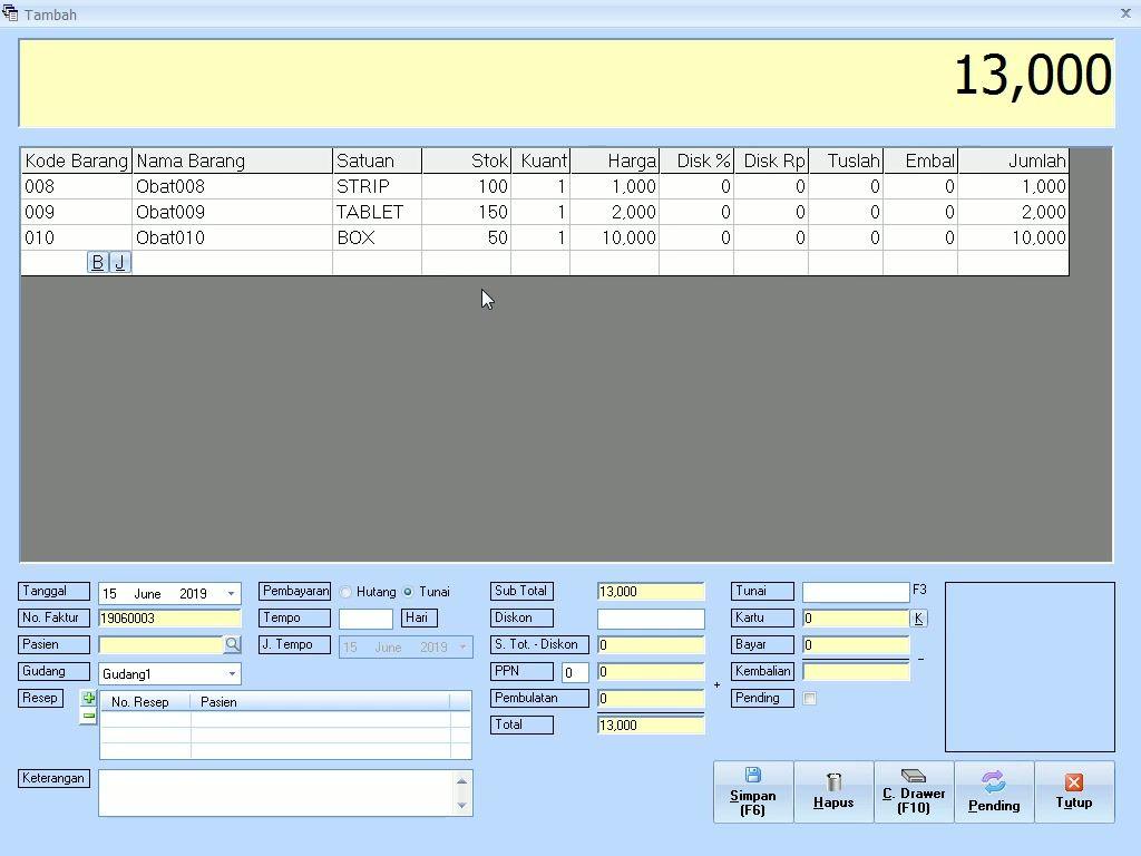 Tutorial Cara Input Stok Awal Obat Dengan Menggunakan Menu Revisi Stok Pada Software Apotek Gratis Software Tutorial