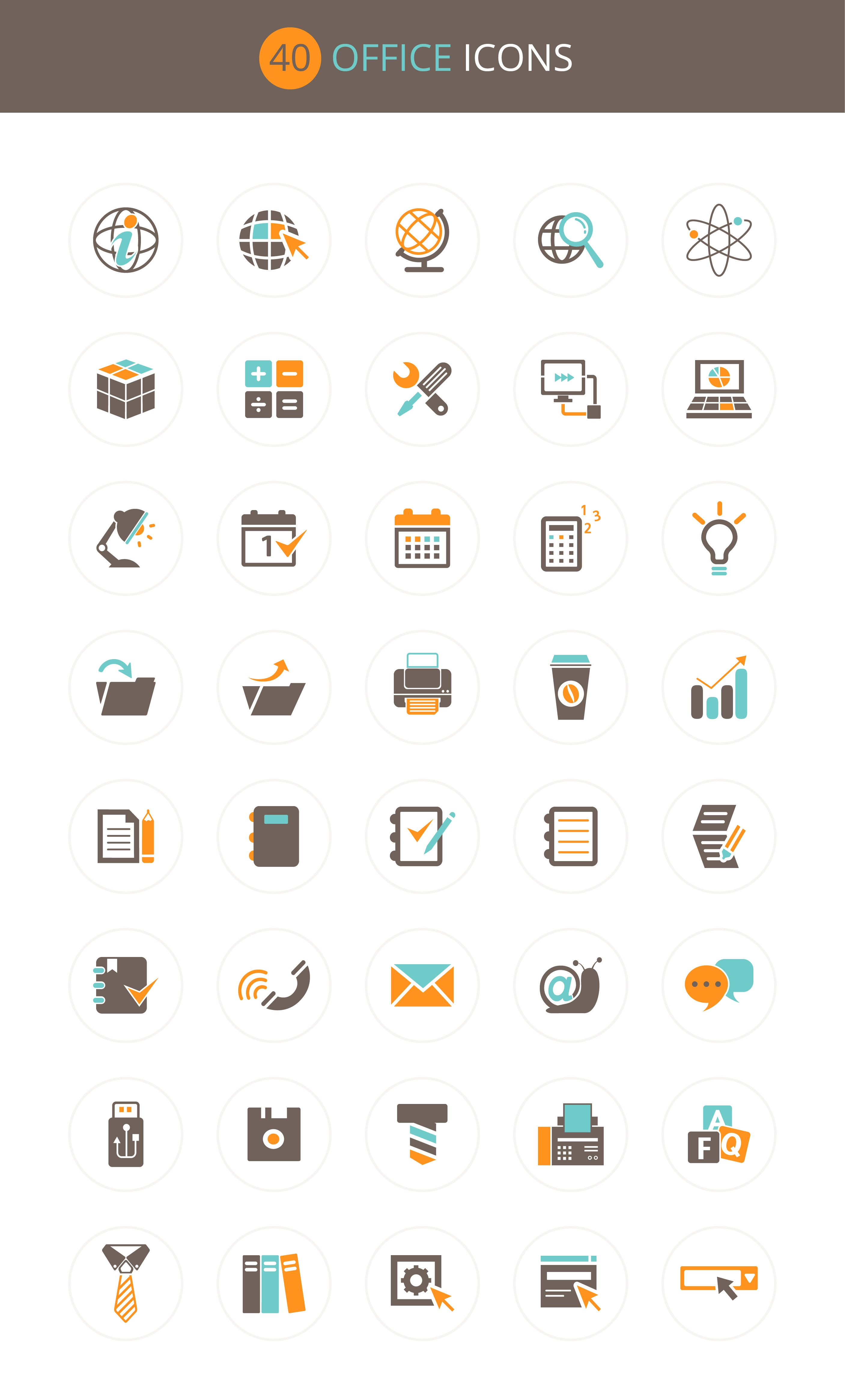 Free Download : Office Icon Set (40 icons – PSD , AI , EPS