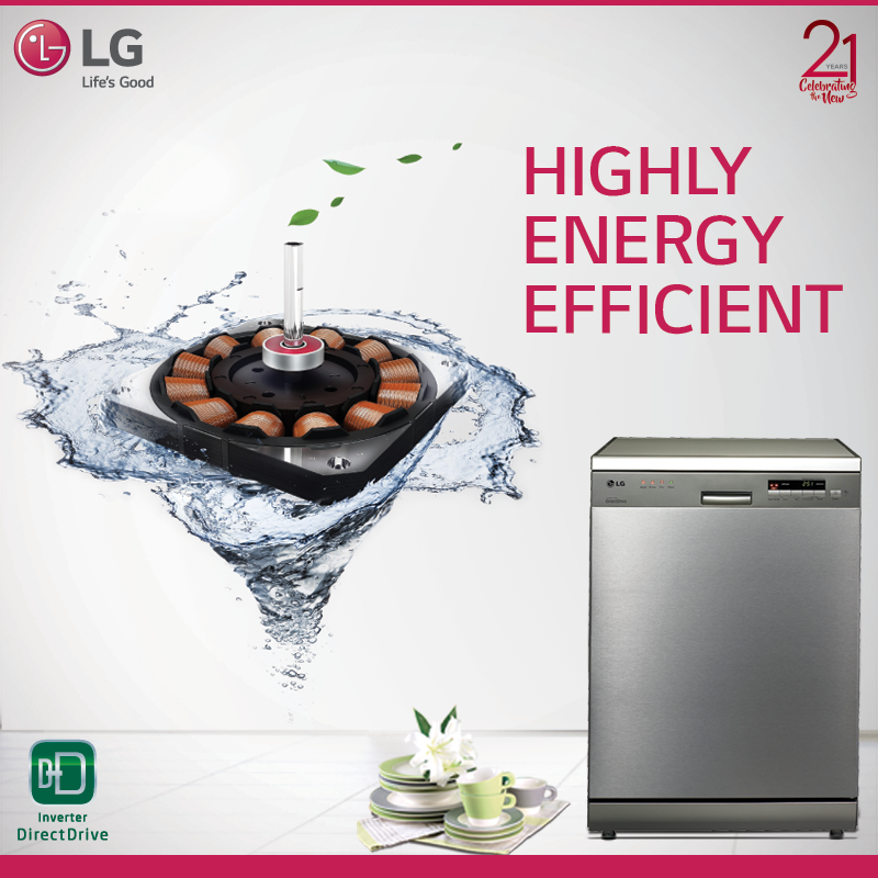 Optimized For High Energy Efficiency The Inverter Direct Drive With 10 Year Warranty In Lg Dishwasher Is Eco F Dishwasher Dishwasher Price Energy Efficiency