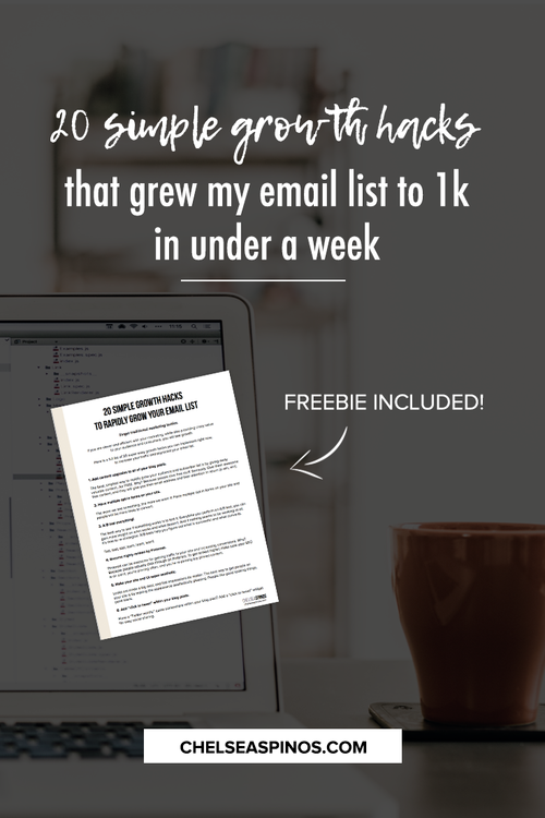 Grow your email list with these 20 simple growth hacks that grew my email list to 1k in under 1 week! Freebie included!