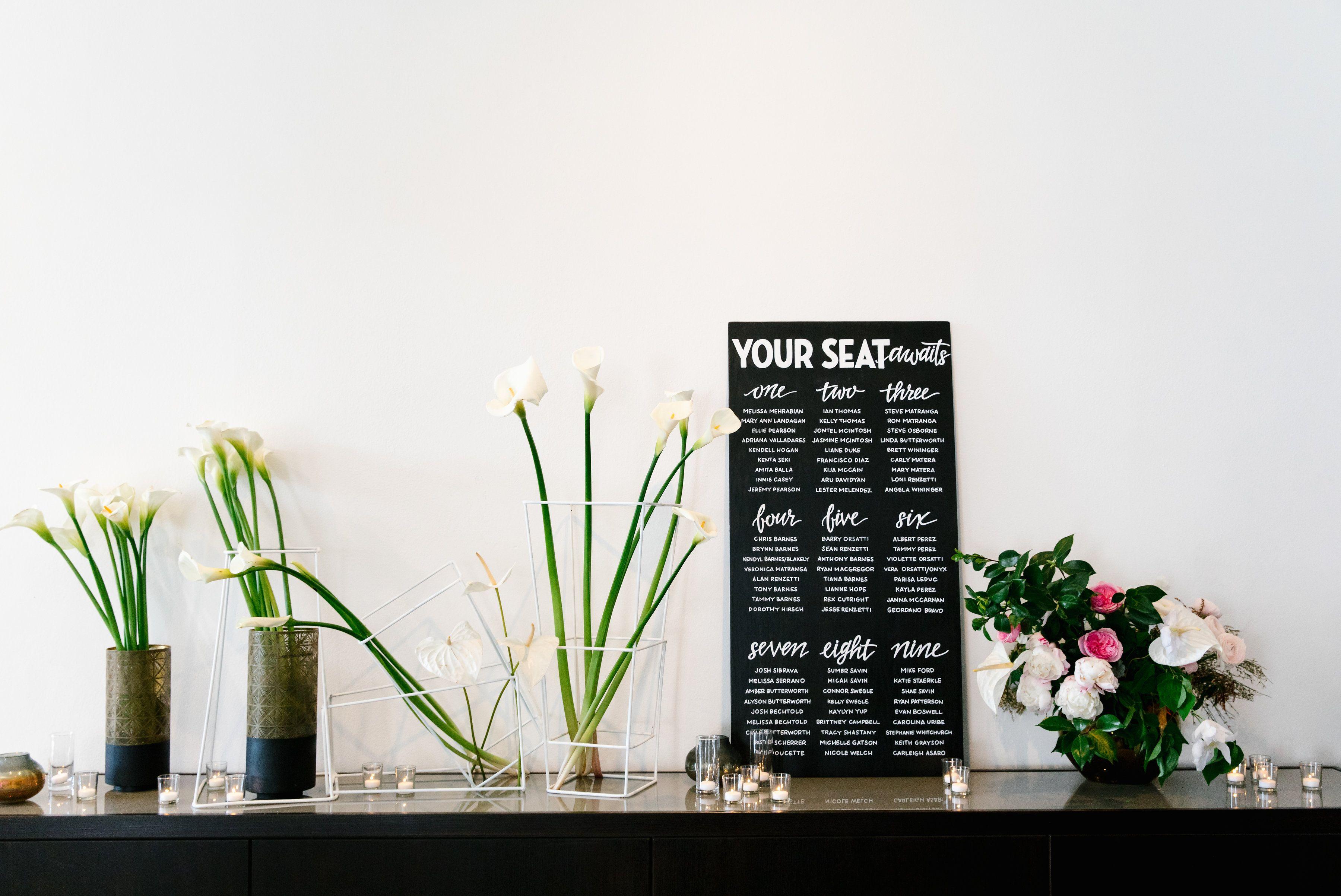 seating chart | florals | modern weddings | Hudson Loft