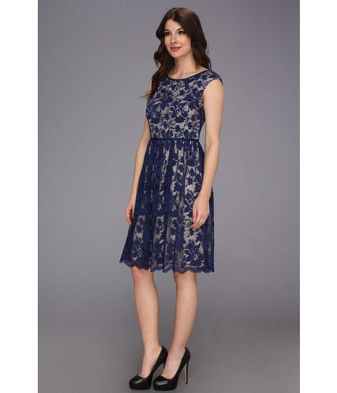 Maggy London Cap Sleeve Lace Gathered Dress w/ Skirt New Navy - 6pm.com