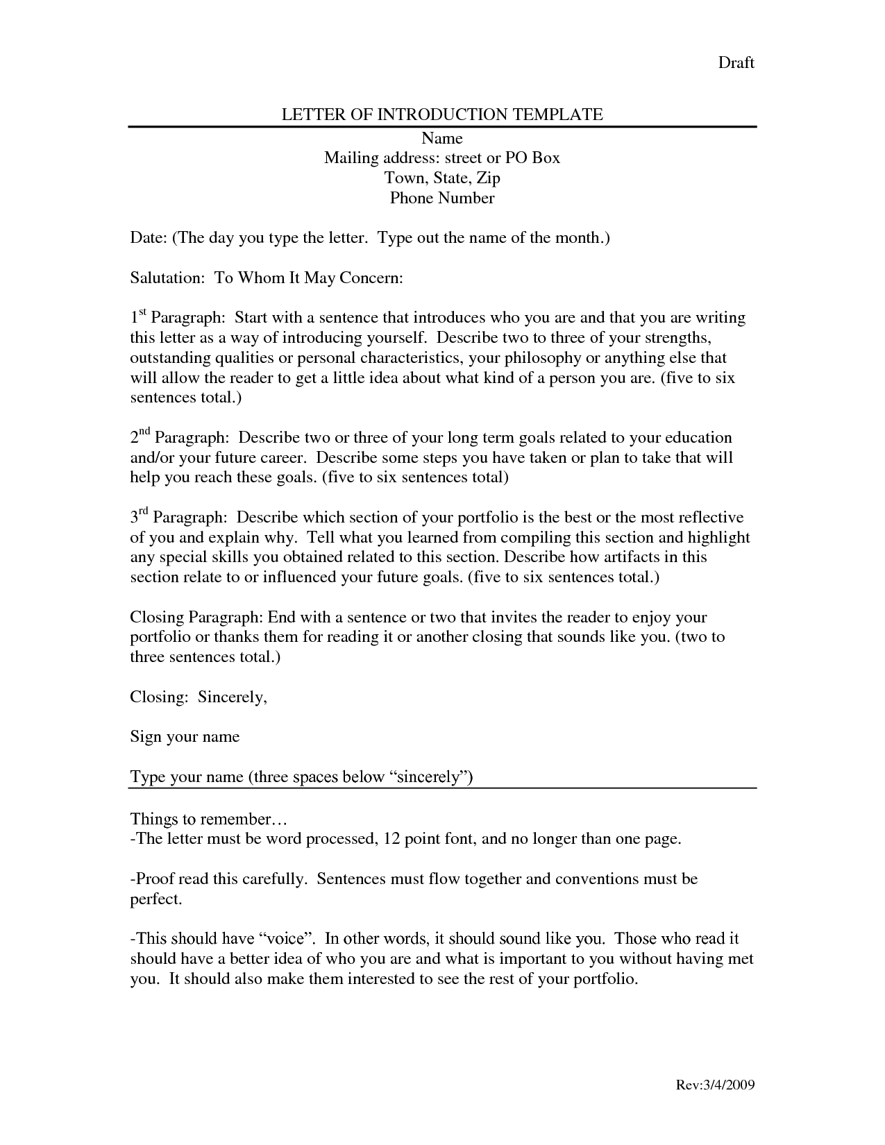 resume intro letter
