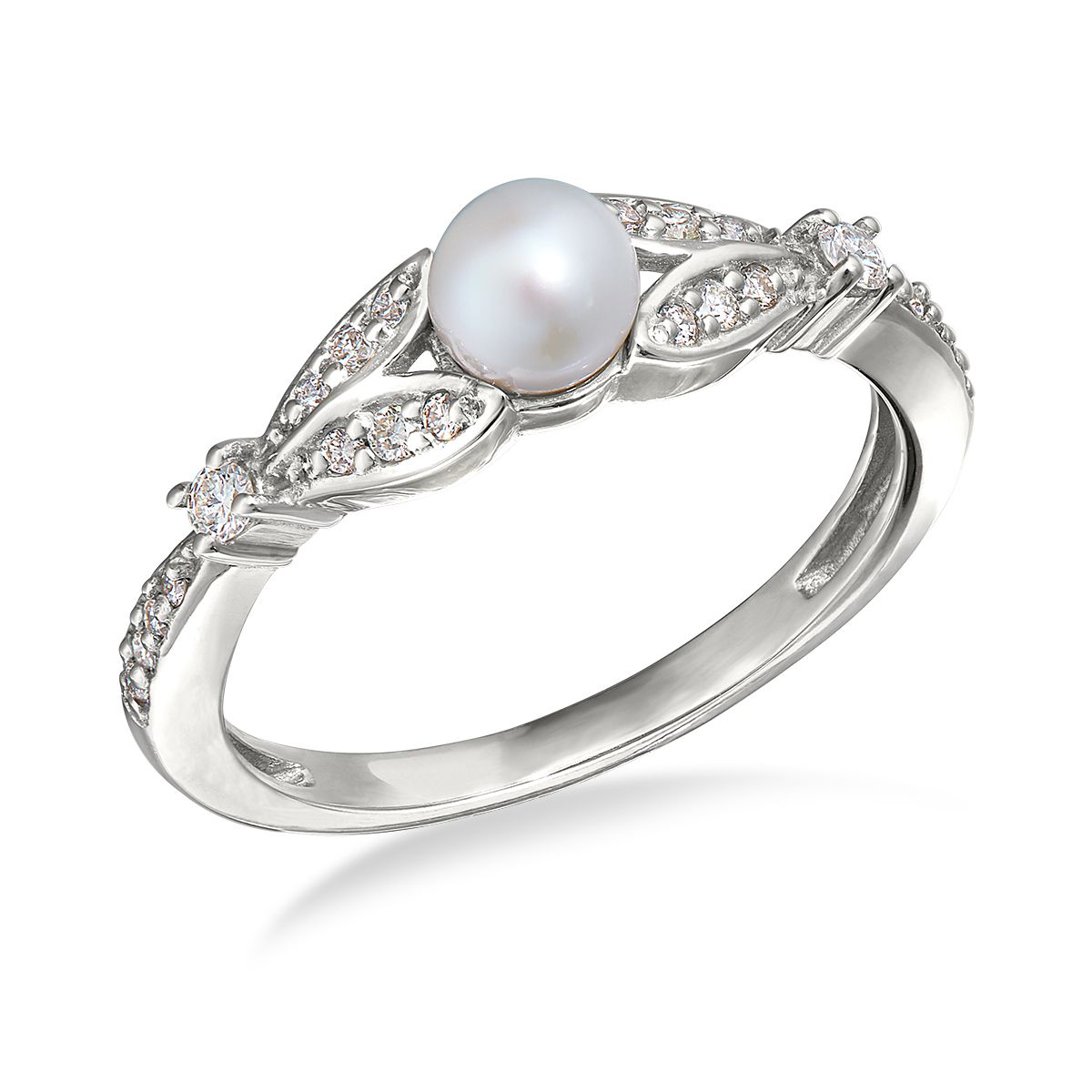 Heirloom elegance 14kt white gold pearl and diamond