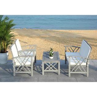 Safavieh Fontana 4pc. Acacia Outdoor Patio Set with ... on Safavieh Outdoor Living Fontana id=22253