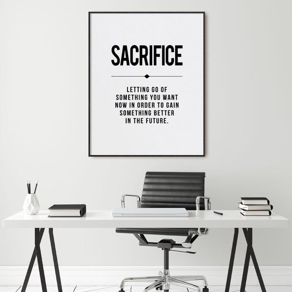 Sacrifice Office Decor Business Definition Motivational Wall Art Inspirational Print Entreprene Office Wall Art Motivational Office Decor Motivational Wall Art