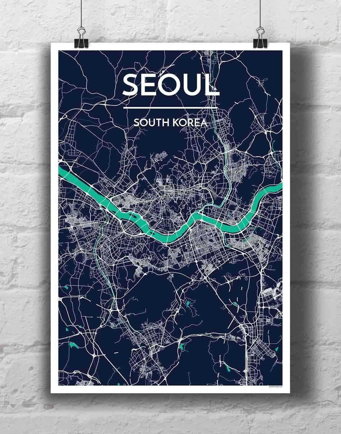 Seoul Map Art Print Map Art Print City Map Art Map Art