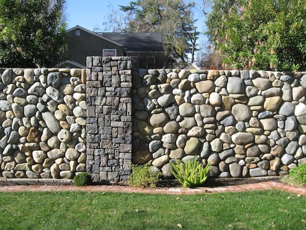 Masonry Fence Design Inspiration flat topped uniform cobblestone perimeter fencing inspiration flat topped uniform cobblestone perimeter fencing with gray stone rectangle pillar workwithnaturefo