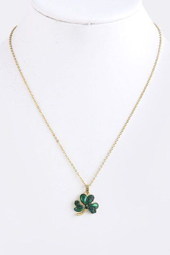 Crystal studded clover pendant with gold chain link necklace crystal studded clover pendant with gold chain link necklace crystal studded shamrock pendant with gold chain link necklace starshine jewelry 1175 aloadofball Image collections