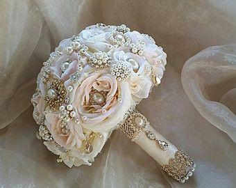 Rose Gold Bridal Brooch Bouquet Ivory Pink by Elegantweddingdecor