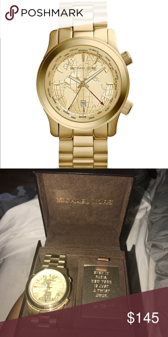 Michael kors runway world map watch oversize 44mm wear the world on michael kors runway world map watch oversize 44mm wear the world on your wrist with this gorgeous gold tone michael kors watch gold tone stainless steel gumiabroncs Choice Image