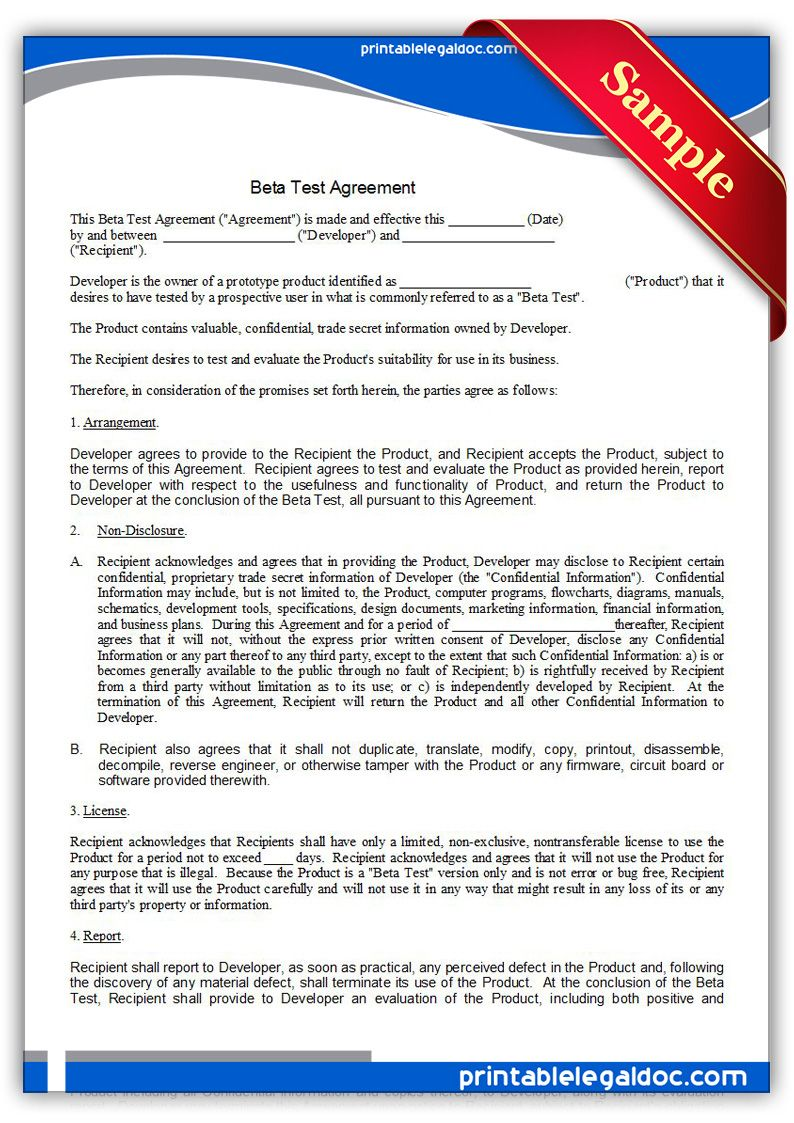 Free Printable Beta Test Agreement  Sample Printable Legal Forms