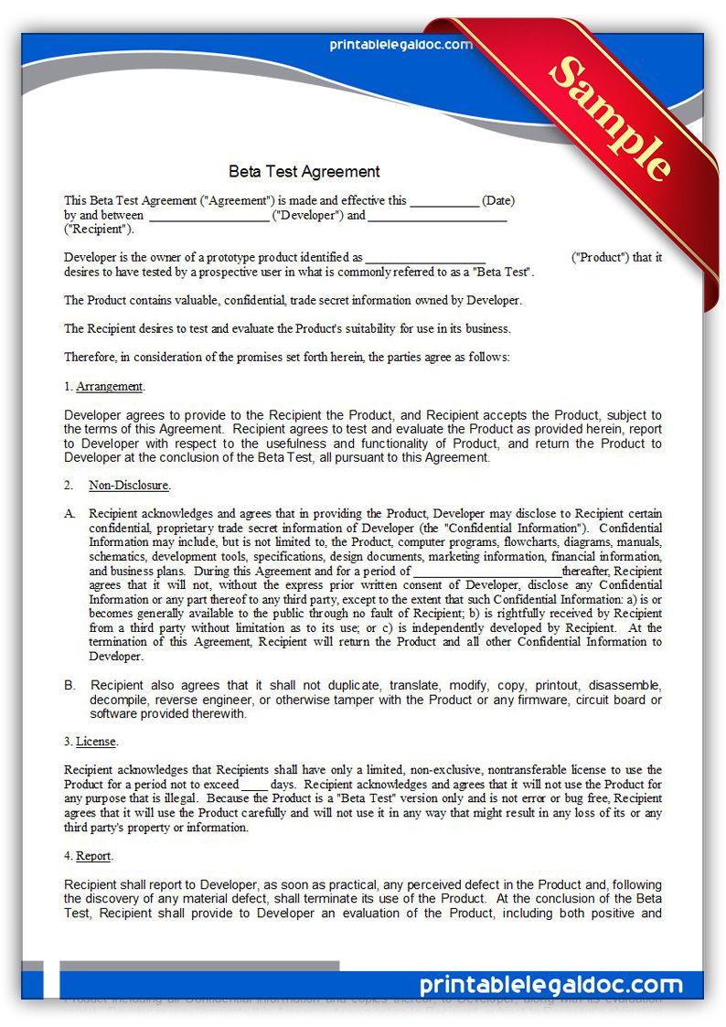 Free Printable Beta Test Agreement | Sample Printable Legal Forms