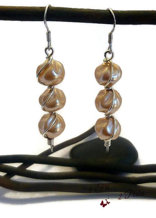 Boucle d'oreilles 3 perles