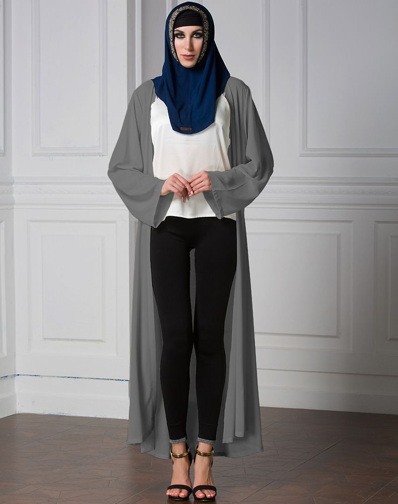 3390006ee Fashionable Elegant Ladies Long Sleeve Muslim Long Cardigan Plain ...