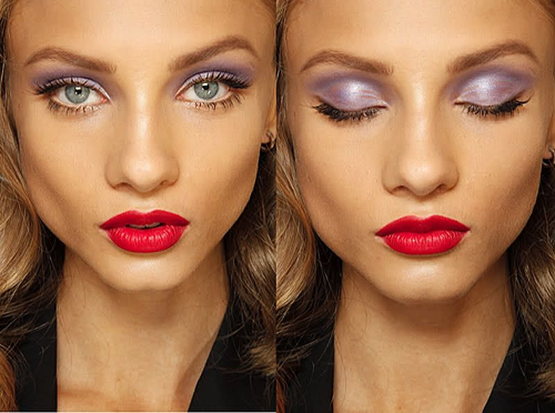 Anna Selezneva Fashion Model Pink Lipstick Purple Eyeshadow