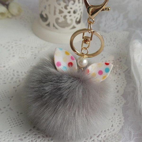 Accessories Car Pendant Fluffy Key Buckle Key Ring Cat Keychain Faux Rabbit Fur