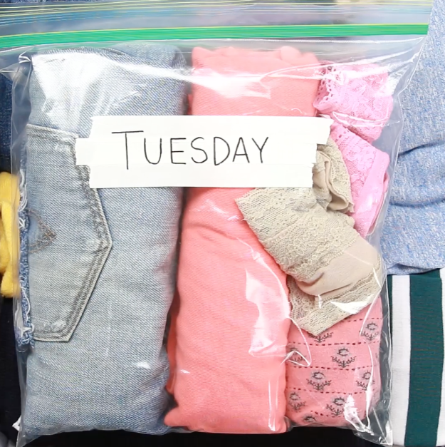 Photo of Organize outfits or accessories by day in resealable plastic bags.