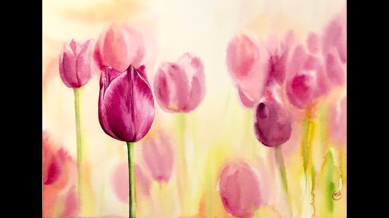 Tulips In Watercolors Painting Tutorial Watercolor Paintings