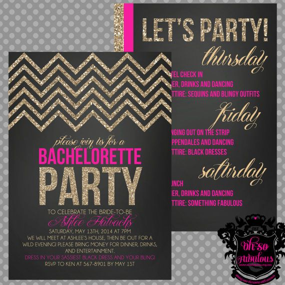 Glitter Chevron DoubleSided Bridal Shower Bachelorette Party – Bridal Shower and Bachelorette Party Invitations
