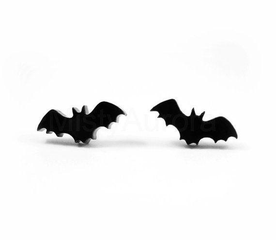 Jewelry Black Bat Stud Earrings By Mistyaurora On Etsy Kr93 00