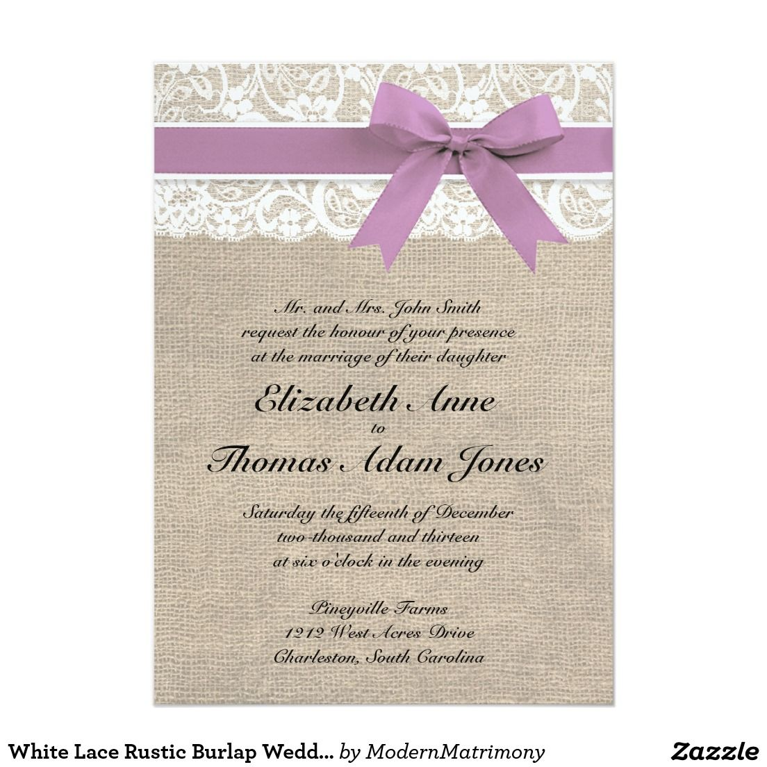 White Lace Rustic Burlap Wedding Invitation Purple | Hessian ...