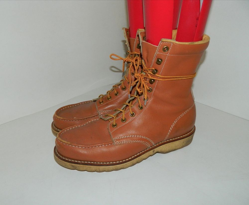 f46881dd73bf Vintage Sears Brown Leather Work Boots Mens Size 11 D  Sears  WorkSafety