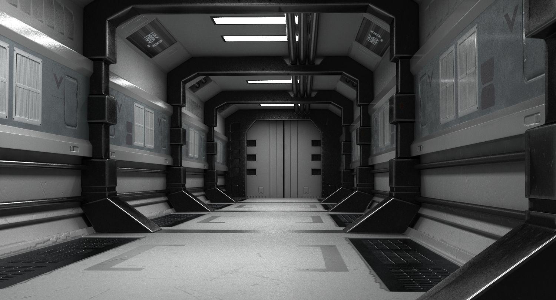 3d Model Scifi Corridor Hallway Space Ship Spaceship Sci Fi Conduit Starship Alien Future Futuristic Door Interio In 2020 3d Model Sci Fi Dream Spaces