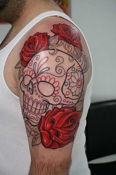 Joli Tattoo Rose Avec Un Crâne Mexicain Sugar Skull Tattoo