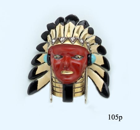 Enamel, Rose-cut Diamond, Turquoise and Gold Indian Chief Brooch by Cartier, Paris at Nelson Rarities,Inc.