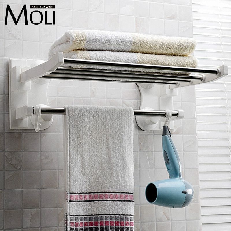 Bathroom Accessories Wall Mounted Suction Cup Single Layer Bathroom Towel Rack With Bar And Hooks Plastic Towel Rack Bathroom Shelves For Towels Bathroom Stand