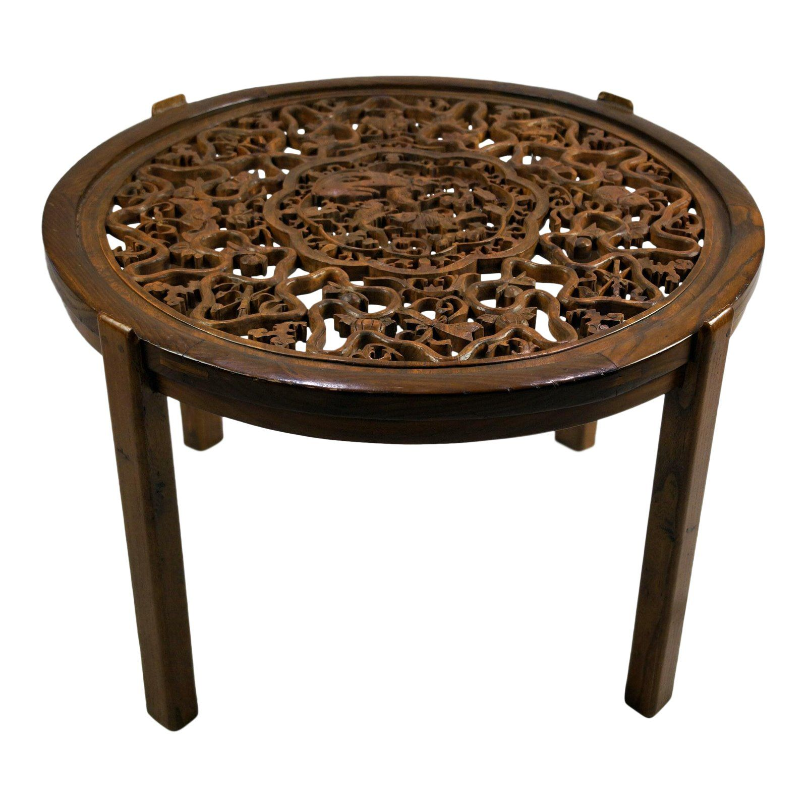 20th Century Asian Elm Round Coffee Table With Carved Panel Round Coffee Table Tea Table Coffee Table With Stools [ 1600 x 1600 Pixel ]