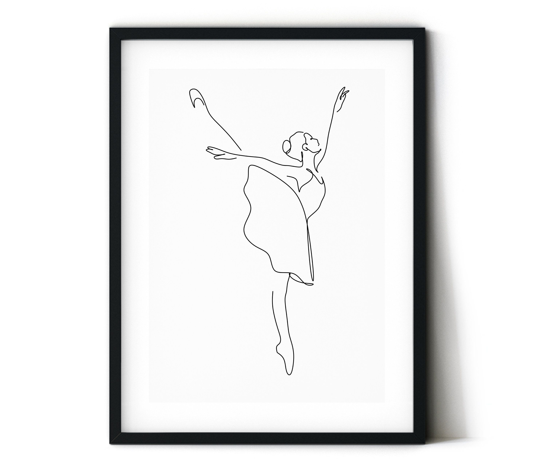 Photo of Ballerina set from Figure 3.Abstract ballerina to print, one line body print, dance floor …