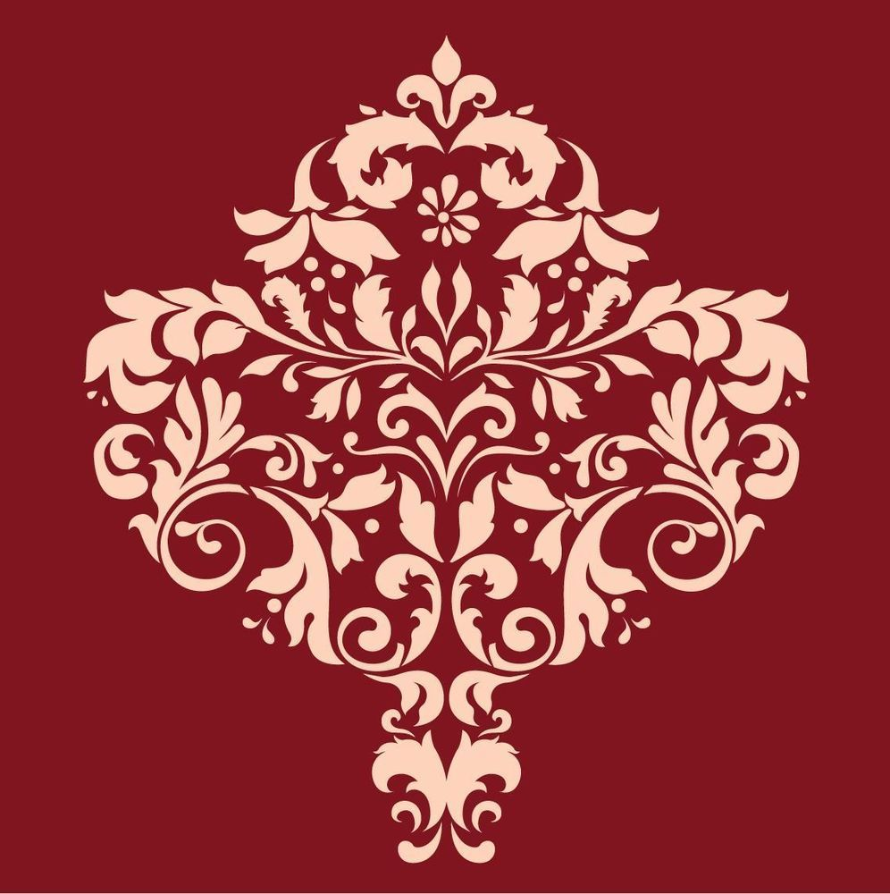 LARGE WALL DAMASK STENCIL PATTERN FAUX MURAL DECOR #1017 Choose Custom Size