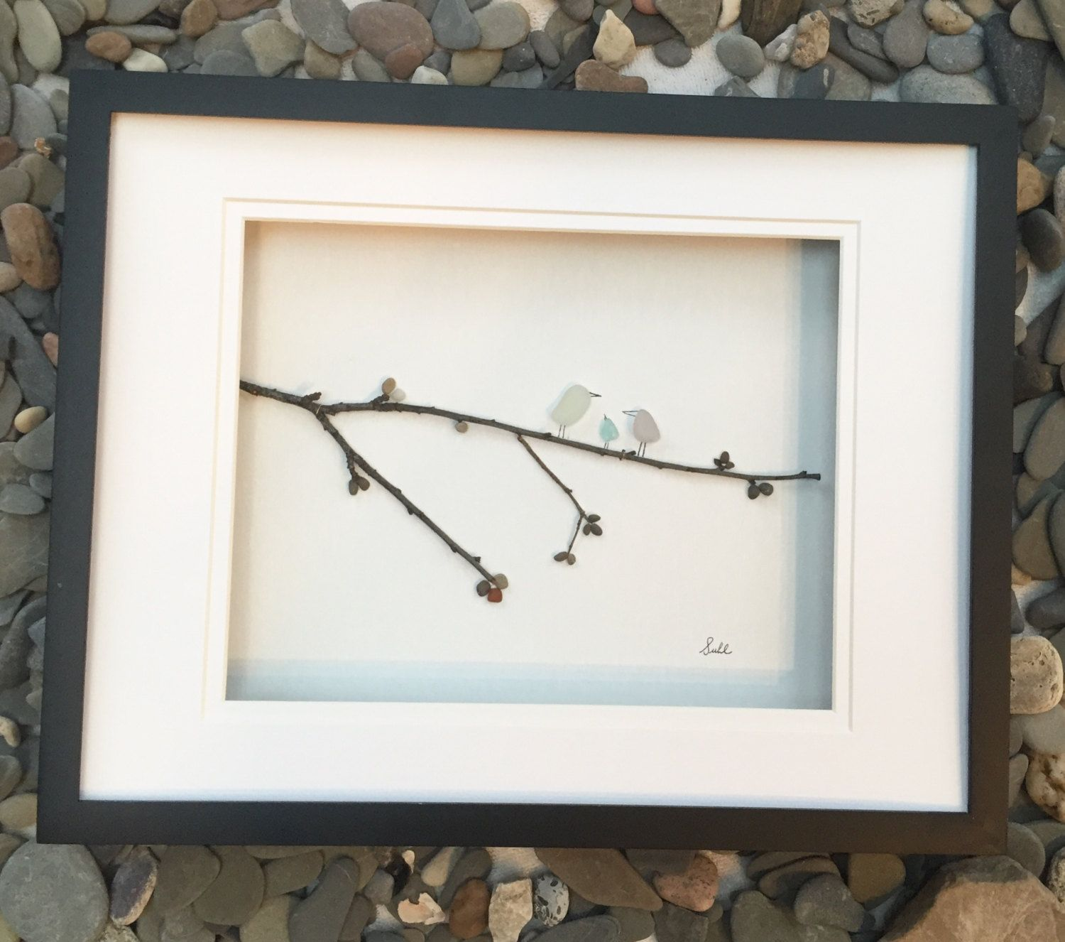 Pebble Art Genuine Sea Glass And Pebbles Bird Family In