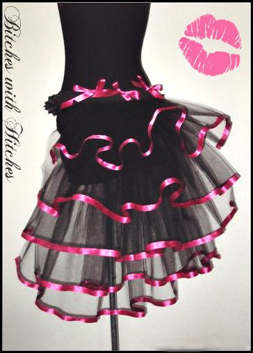 Petticoat, Pink/ Black Crinoline Bustle, Tu Tu, Glamper petticoat, Burlesque Bustle , Tulle Tail https://www.facebook.com/groups/suzyhomefaker/