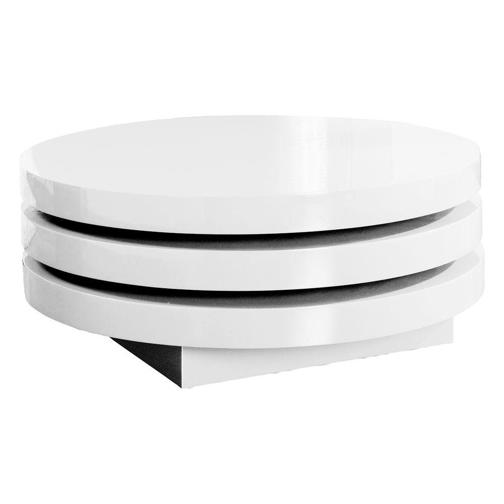 Triplo round gloss swivel coffee table white argharts