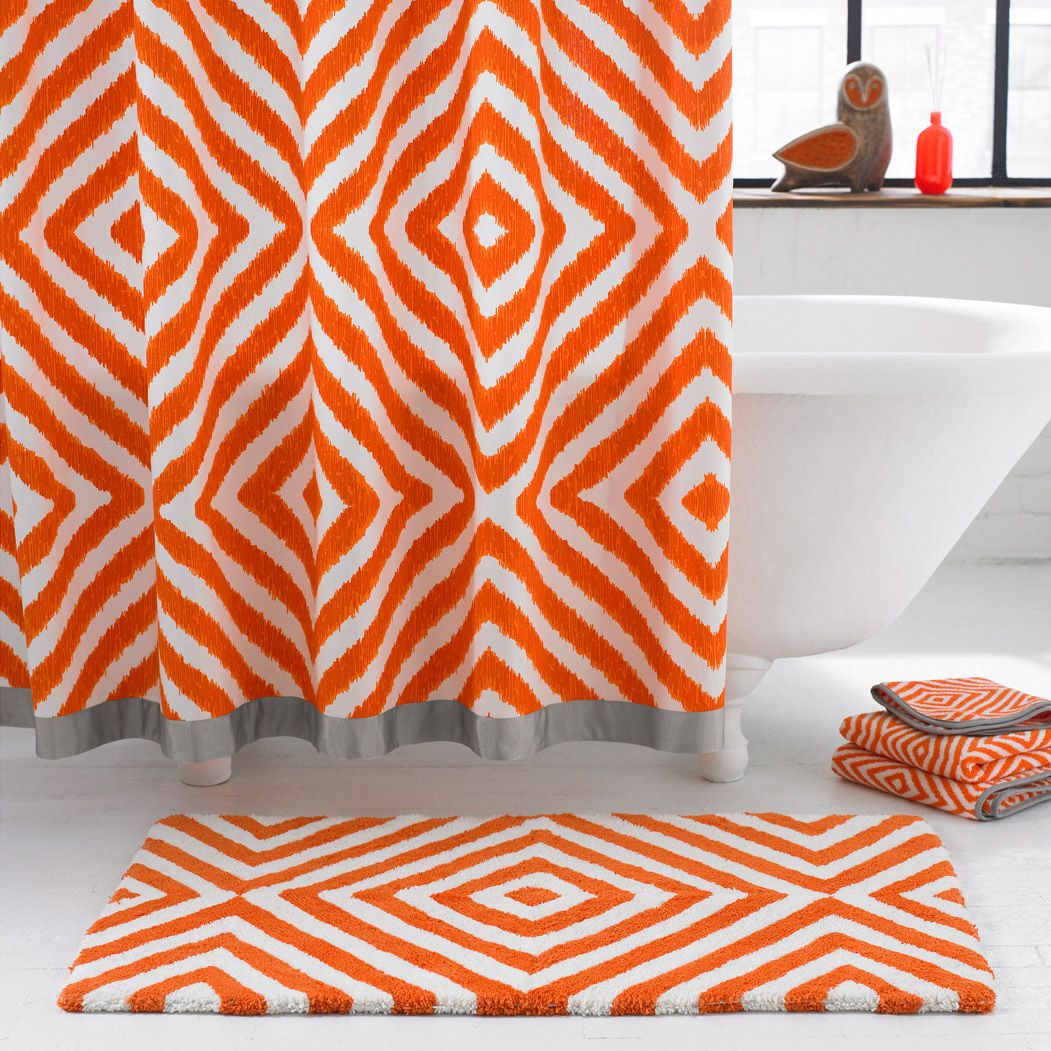 Jonathan Adler Arcade Orange Grey Shower Curtain Zinc Door