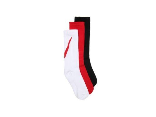 Men's Boys Performance Cushion Youth Crew Socks - 3 Pack -Red/Black/White - Red/Black/White