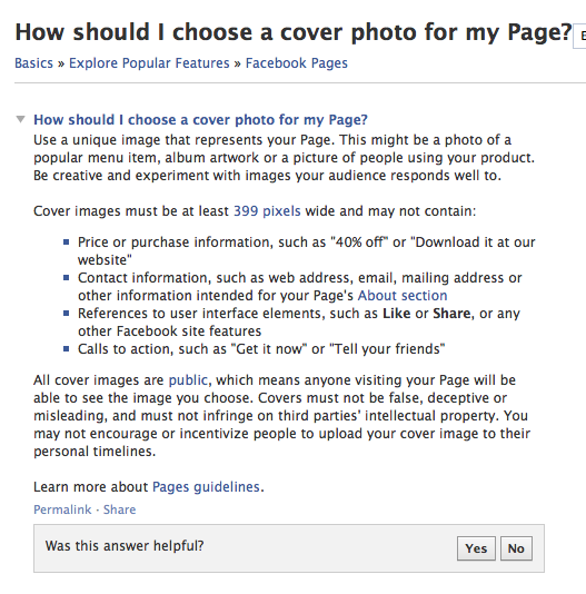 Cover Photo for Facebook timeline restrictions and details from FB