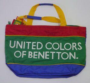 Vintage Rare United Colors Of Benetton Bag Ucb Multi Color Block Hip Hop Tote Lj