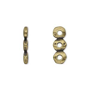 Spacer, TierraCast, antique brass-plated pewter (tin-based alloy), 18x2.5mm 3-strand rondelle nugget with 2mm hole, fits up to 6mm bead. Sold per pkg