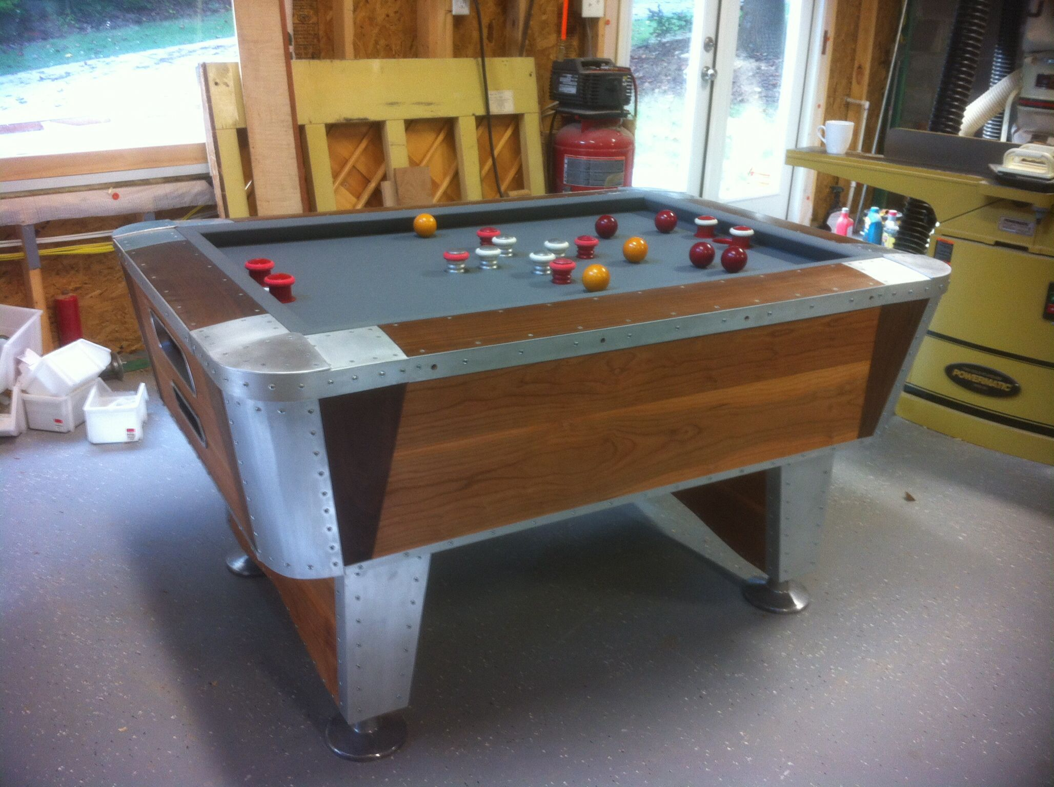 Just Finished Redoing A Lee Valley Bumper Pool Table. The Sides Are Cherry  And Black Walnut And The Side Rails And Corners Are Thick Aluminum.