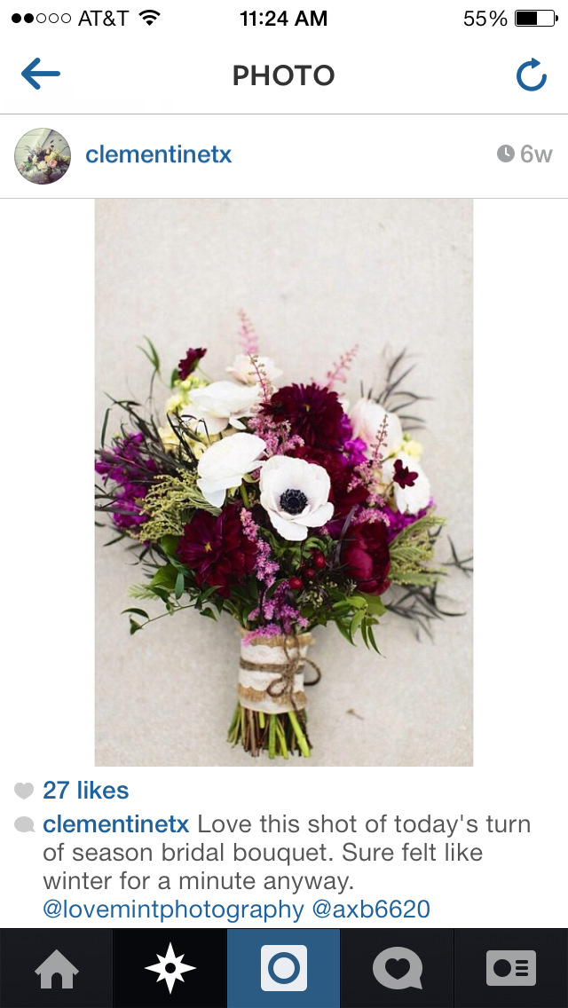 Love This Wintery Burgundy Dark Pink Bouquet By Clementine Flowers In San Antonio