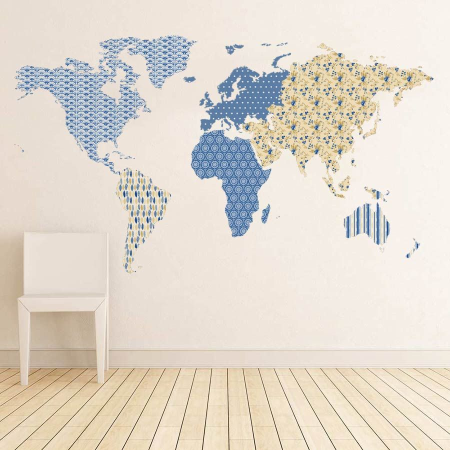 Patterned world map wall sticker vinyl wall stickers wall sticker vinylimpression patterned world map vinyl wall sticker for creating a gumiabroncs Images