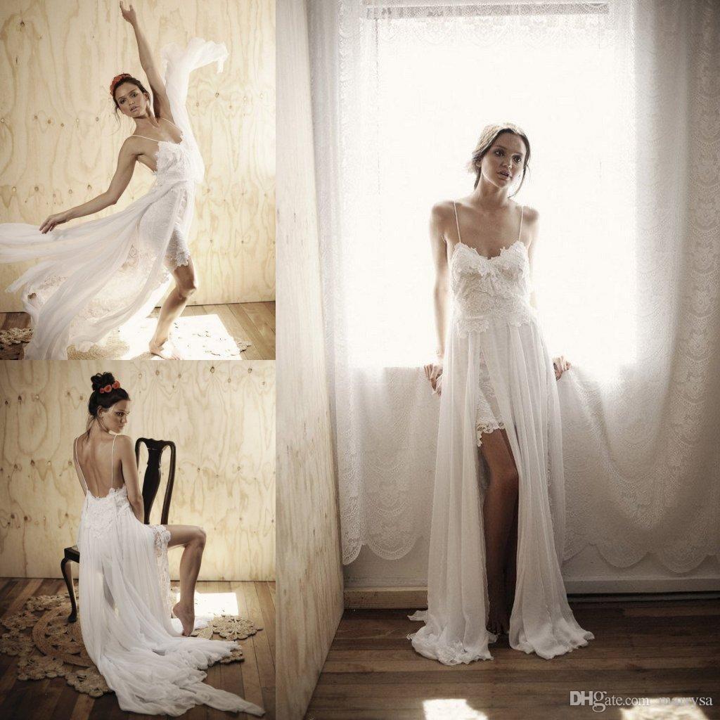 Beach spaghetti straps long boho wedding dresses chiffon with