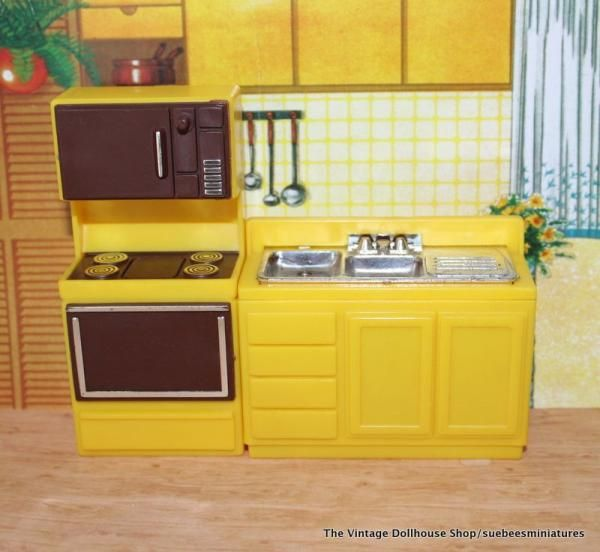 Image Detail For Arco Vintage Dollhouse Furniture Yellow And Brown Kitchen Pcs 1 2