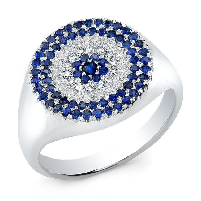 """14KT White Gold Diamond And Sapphire Disc Ring Disc measures approximately 1/2"""""""