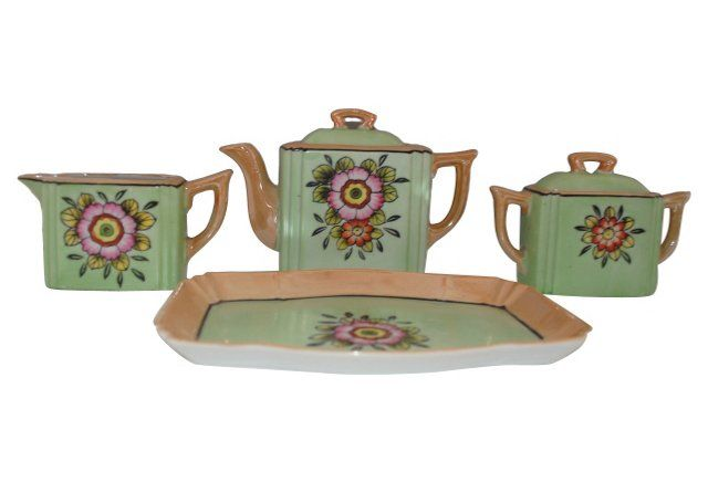 Art Deco Porcelain Tea Set, 4 Pcs